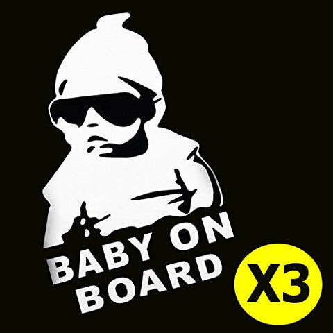 "3pcs 5"" Cute Cool Kids Hangover Baby On Board Warning Signs Funny Car Window Die-Cut Graphic Vinyl Decals for SUV Truck Car Bumper, Laptop, Wall, Mirror, Motorcycle"