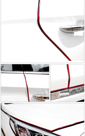 JDM Black/ Black Silver/ Black Red Rubber Body Side Door Edge Bumper Guard Protection Strip Sticker (14.7 Feet)