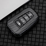 Carbon Fiber Texture Full Sealed Key Fob Cover Shell Keyless Key Protective Hard Case with Keychain for Toyota Camry Corolla RAV4 Prius Avalon C-HR 86 GT 2017 2018 2019 4-button Entry Smart Key
