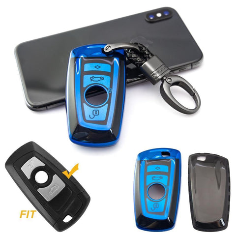 for BMW 1 2 3 4 5 6 7 Series X1 X3 X4 Key Fob Cover TPU Front+ABS Shell Back Case Key Protector, Glossy Blue / Red / Silver