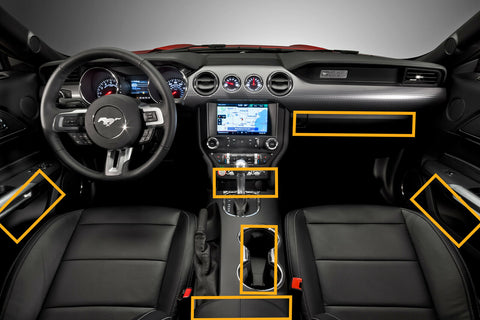 12pcs Non-slip Coaster Cup Holder Door Storage Pad for Ford Mustang 2015-2019 - Car Full Interior Night-Glow Anti-dust Mat