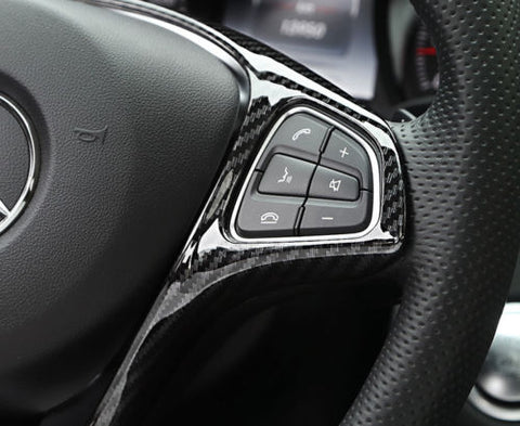 Xotic Tech Carbon Fiber Pattern/ Silver Chrome Steering Wheel Panel Cover Sticker for Mercedes Benz C E GLC 2014- 2017