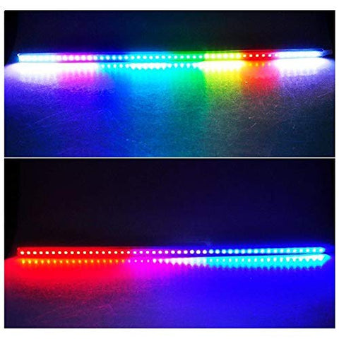 RGB Knight Rider LED Scanner Light Strip, 21'' 48-SMD Multicolored LED Flash Strobe Light Bar Kit for Car Interior Exterior Hood Grille Trunk