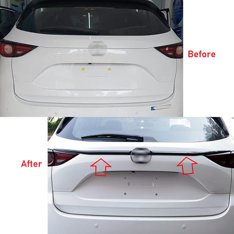 ABS Chrome / ABS Carbon Fiber Rear Trunk Lid Moulding Cover Trim Guard for Mazda CX5 CX-5 2017-2019