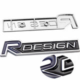 Silver/Black Metal R-Design Letter Emblem Trunk Lid Side Fender Decal Badge for Volvo