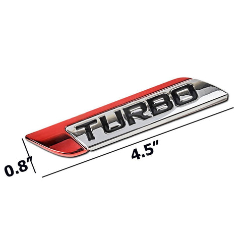 1 Set Sport Red Turbo Badge Car Trunk Lid Side Fenders Body Emblem Nameplate Stickers Univeral Fit