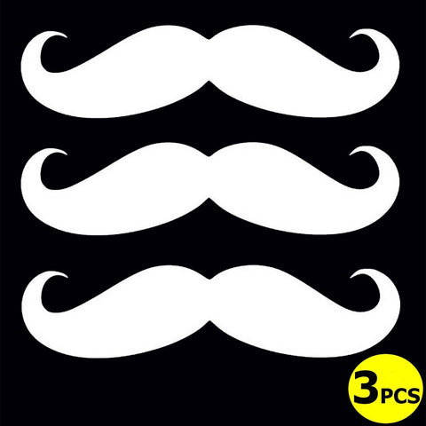 "3pcs 7"" Euro Funny Italian Mustache Car Window Die-Cut Graphic Vinyl Decals"