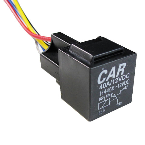 1x 5-Pin 12V 40A SPDT Auto Relay Socket Wire For Car Fog Light DRL Daytime Running Lamp DRL