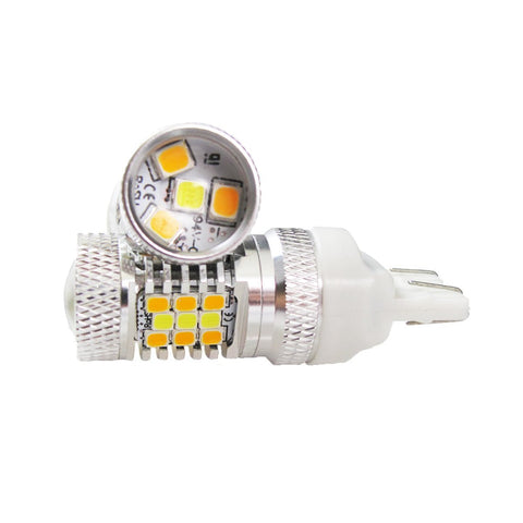 2 PCS High Power 3157 Switchback White/Amber 31-SMD LED Bulbs For Front Turn Signal Lights