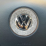 1 Piece 3D Rhinestone Car Steering Wheel Logo Decoration Sticker Ring Decal FOR VW VOLKSWAGEN