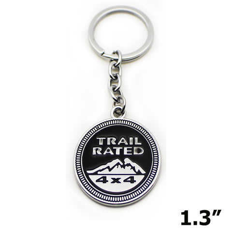 1x TRAIL RATE 4x4 Metal Black Keychain Ring 3D Key Chain Nameplate Emblem for Jeep Cherokee Wrangler Commander Liberty Patriot Grand Cherokee