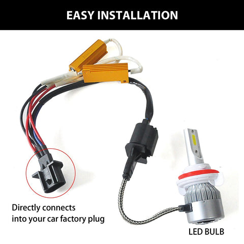 2pcs H13 9008 LED Load Resistor Kit HID Relay Harness Decoder CAN-bus Anti Flicker Hyper Flash Wiring Canceler