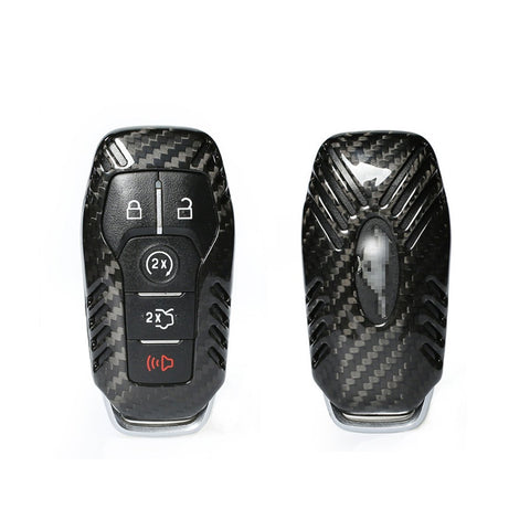 1 set Carbon Fiber Keyless Entry GlossyRemote Smart Key FOB Case Cover Perfect for 2015 2016 Ford Mustang