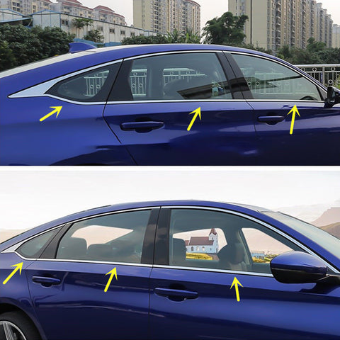 6pcs Stainless Steel Car Window Lower Bottom Frame Cover Molding Trim for Honda Accord 10th 2018 2019