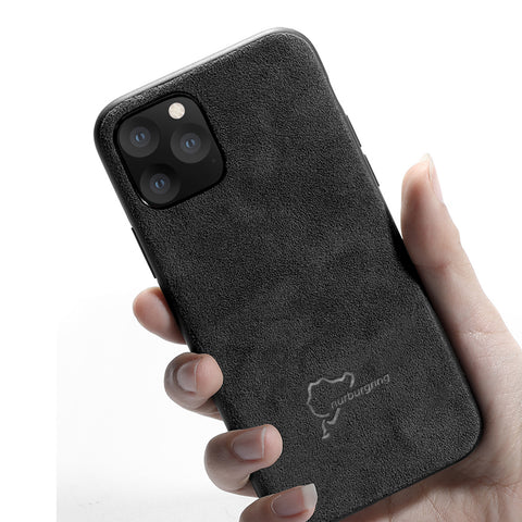 Luxury Black / RS Logo / Nurburgring Logo / Mustang Logo Super Slim Leather Alcantara Suede Durable Protective Cover Case for Apple iPhone 11 Pro Max