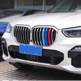 3pcs M-performance TRI Color Grille Kidney Insert Trims Stripe Cover for BMW X Series X5 G05 2019 2020 (7 beam bars)