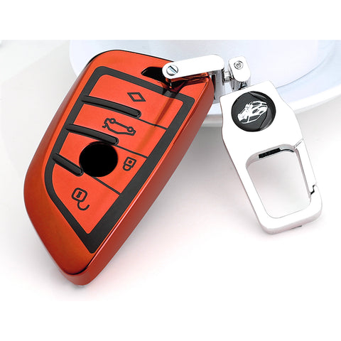 for BMW Key Fob Cover - Soft TPU Front + ABS Shell Back Blade Shape Key Case Pouch Key Protector for BMW X1 X5 X6 1 2 5 Series, Glossy Blue / Red / Silver