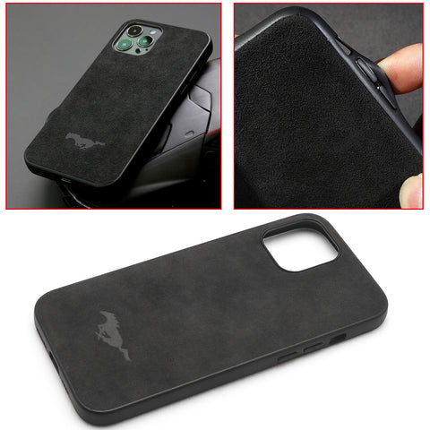 Matte Alcantara Leather Mustang Logo for iPhone 12 Pro Max Luxury Business Cover Ultra Slim Protective (Black)
