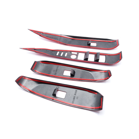 4pcs Carbon Fiber Pattern / Red ABS Car Door Window Lock Panel Switch Bezel Cover Driver Passenger Side for Toyota Camry 2018 2019