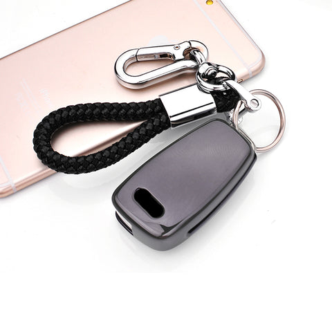 Keyless Remote Soft Key Fob Cover Case For Audi A1 A3 Q7 Q5 Q3[Black\Blue\Red\Rose Gold\Silver]