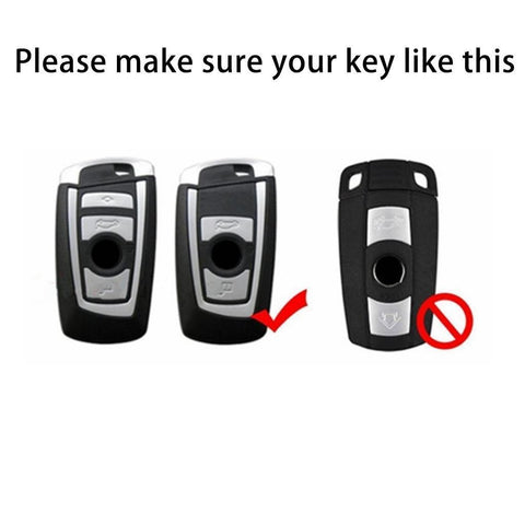 Carbon Fiber Style Soft Silicone Remote Smart Key Cover Case for BMW 1 3 4 5 6 7 X1 X3 Black