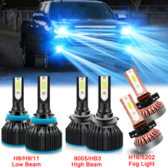 6pcs 8000K Ice Blue Extremely Bright LED Headlight Fog Parking Light Bulb for Chevrolet Silverado 1500 2500 2007-2015