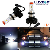 2x HID White 160W 12000LM H7 6000K Headlight Bulbs Powered By Luxen LED (Newest Model)