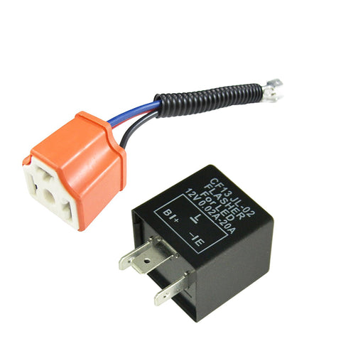 3-Pin Car Flasher Relay Fix LED Light Turn Signal Hyper Blink Flash Fix With Conversion Wire