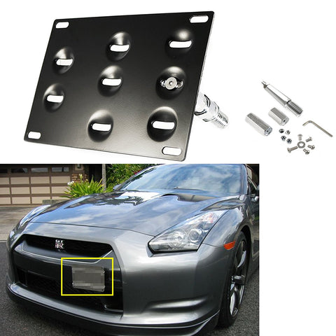 1 Set Front Tow Hook License Plate Bumper Mounting Bracket Fit Nissan GTR 370Z Juke Infiniti G37 Q60 Coupe