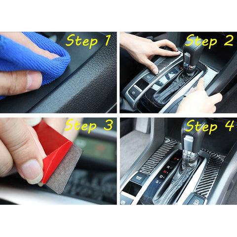 1 piece 3D Real Carbon Fiber Shift Gear Panel Knob Cover Trim Sticker Fit for Honda Civic 2016 2017
