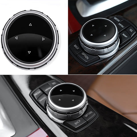 Multimedia Knob Controller Wheel Replacement Cover For BMW 1 3 5 Series X1 X3 X5 X6 iDrive [Silver/Blue/Gold/Rose Gold]