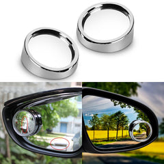 "2 pcs Silver 2.0"" Angle Convex Round Rear Wide View Blind Spot Mirrors For Car Truck SUVs Motorcycle"