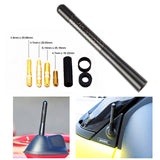 "5"" Black Real Carbon Fiber Aluminum Short Screw-On Mast Car Antenna"