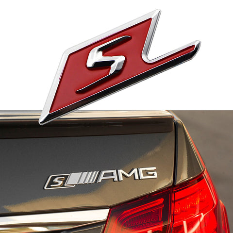 3D Chrome S Logo Car Rear Trunk Lid Emblem Sticker For Mercedes Benz AMG [Red/Black]