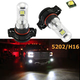 (2) Super Bright White High Power 80W CREE 5202 H16 LED Bulbs Daytime Running DRL Fog Lights Bulbs Lamps Replacement For Chevorlet GMC Dodge Chrysler Jeep