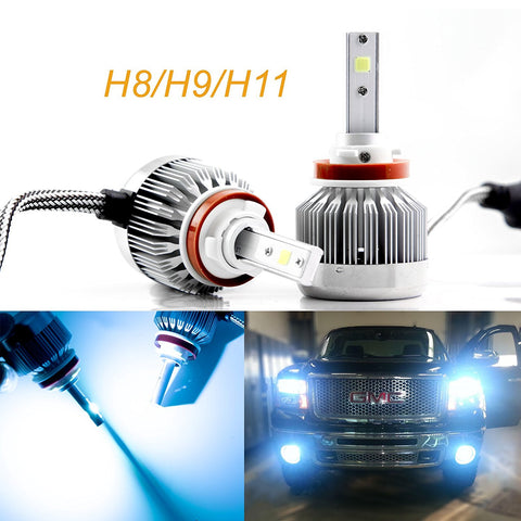 2pcs H8 H9 H11 Ice Blue 8000K COB LED Headlight Bulbs Conversion Kit For High/Low Beam Daytime Running Lights