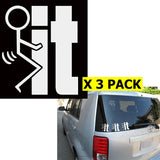 3x Funny fuck-It fuck-u JDM Illest Ricer Car Window Die-Cut Graphic Vinyl Decals for SUV Truck Car Bumper, Laptop, Wall, Mirror, Motorcycle