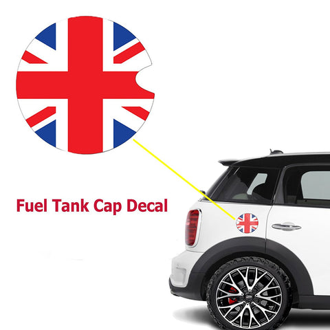Vinyl Sticker Decal For Mini Cooper Gas Cap Cover Black/White Checkered Union Jack UK Flag
