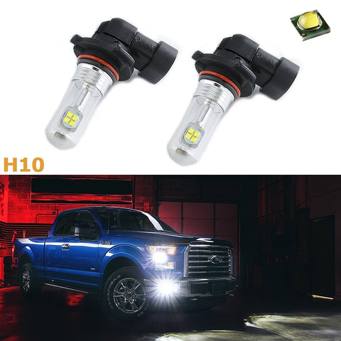 (2) Bright White H10 9145 9005 CREE LED 6000K For Fog Lights Running DRL Bulbs Replacement