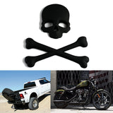 Cross Bones Skull Skeleton Matte Black Metal 3D Emblem Badge Sticker Decal For Car, SUV, Truck, Off Road, Motorcycle, Cruise, Boat