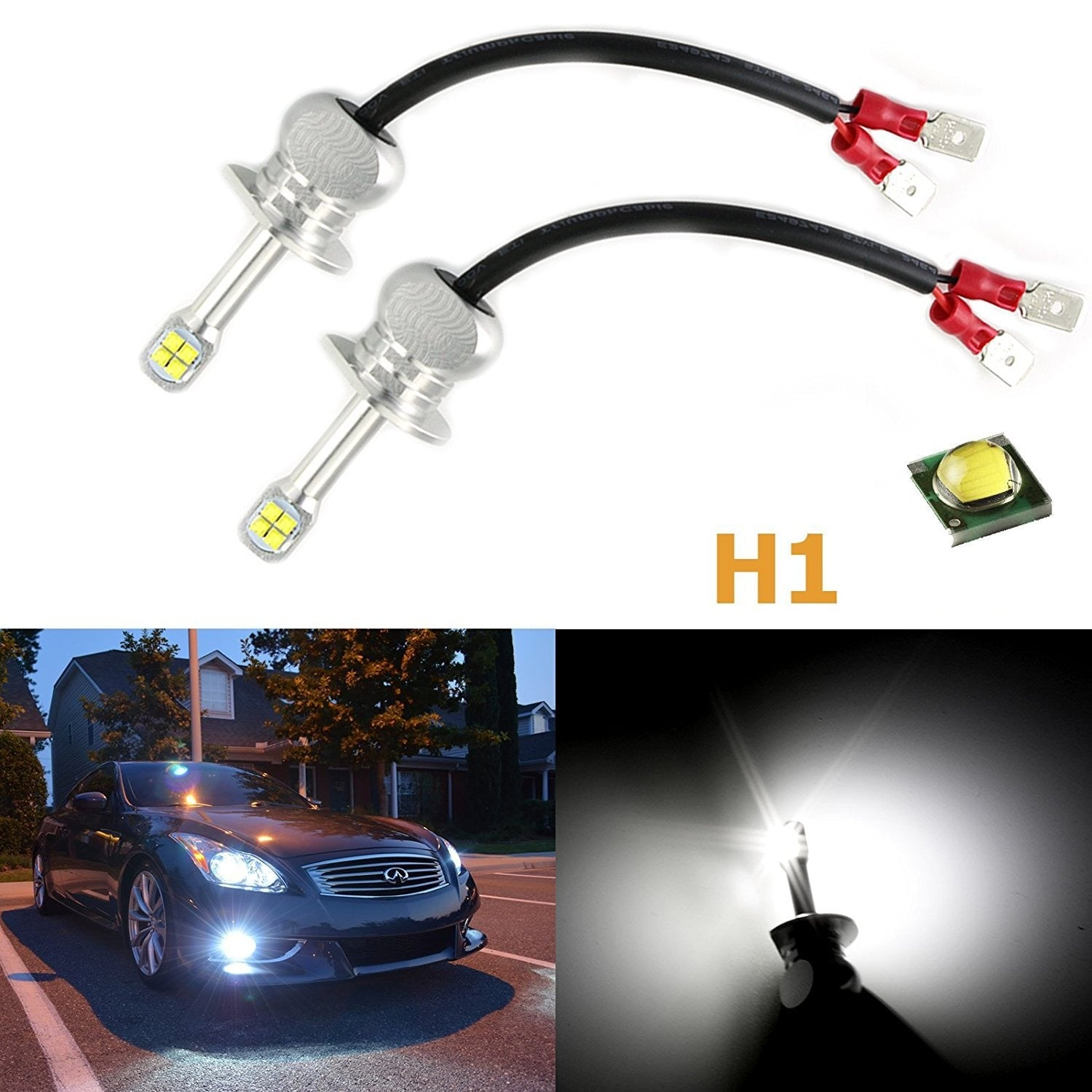 2) 80W CREE LED Bright White H1 LED DRL Driving Running