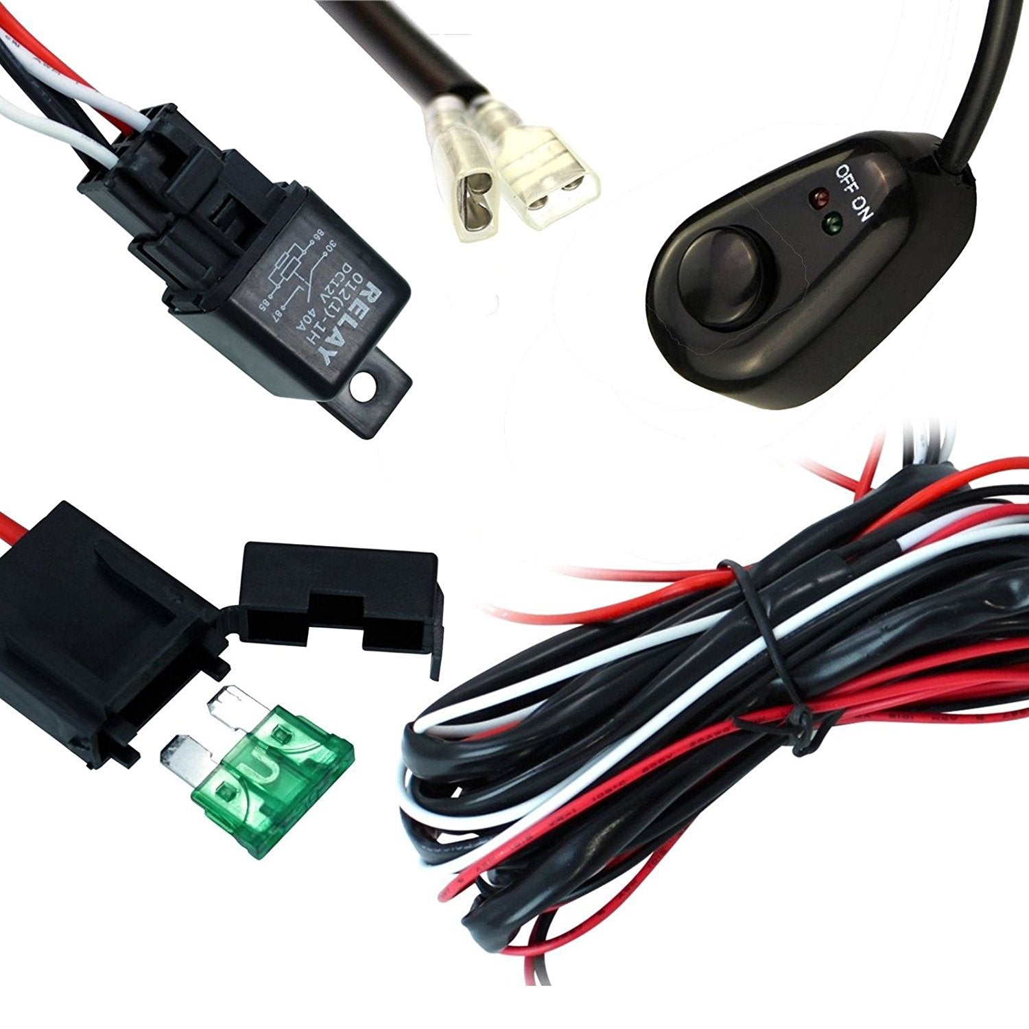 Universal Fit Relay Wiring Harness Kit With Led Light On Off Switch Accessories 12v 40a Hid Bar Driving For Road