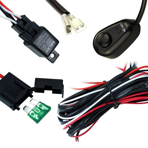 Universal 9ft Relay Wiring Harness Kit for LED Work Light Bar Off-Road 72W~300W - 40A 12V ON / OFF Switch
