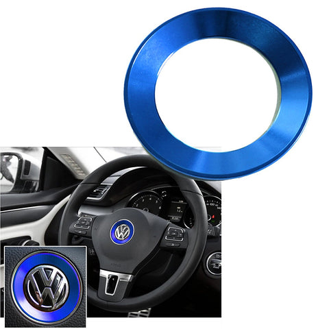 Steering Wheel Center Logo Ring Emblem Blue Trim For Volkswagen Golf MK7 Lavida Bora 2014 2015 2016 [Red/Blue]