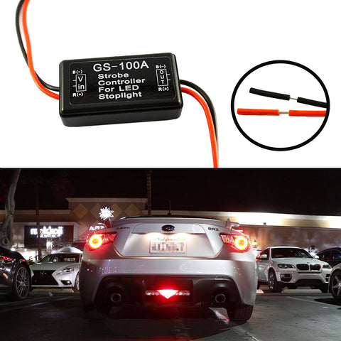 1 Set GS-100A 12V LED Brake Stop Light Strobe Flash Module Controller Box For SUV Truck Car Motorcycle Motorbike Universal Fit