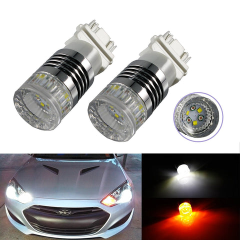 3157 High Power Switchback LED Bulbs Dual Colors White/Amber For Front Turn Signal Lights