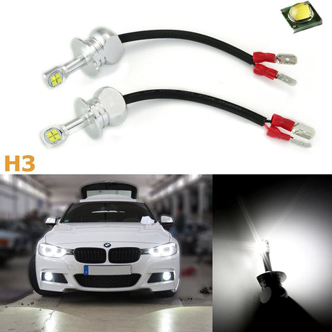 (2) 80W CREE LED Bright White H3 LED DRL Driving Running Light, Fog Light, Off Road Light