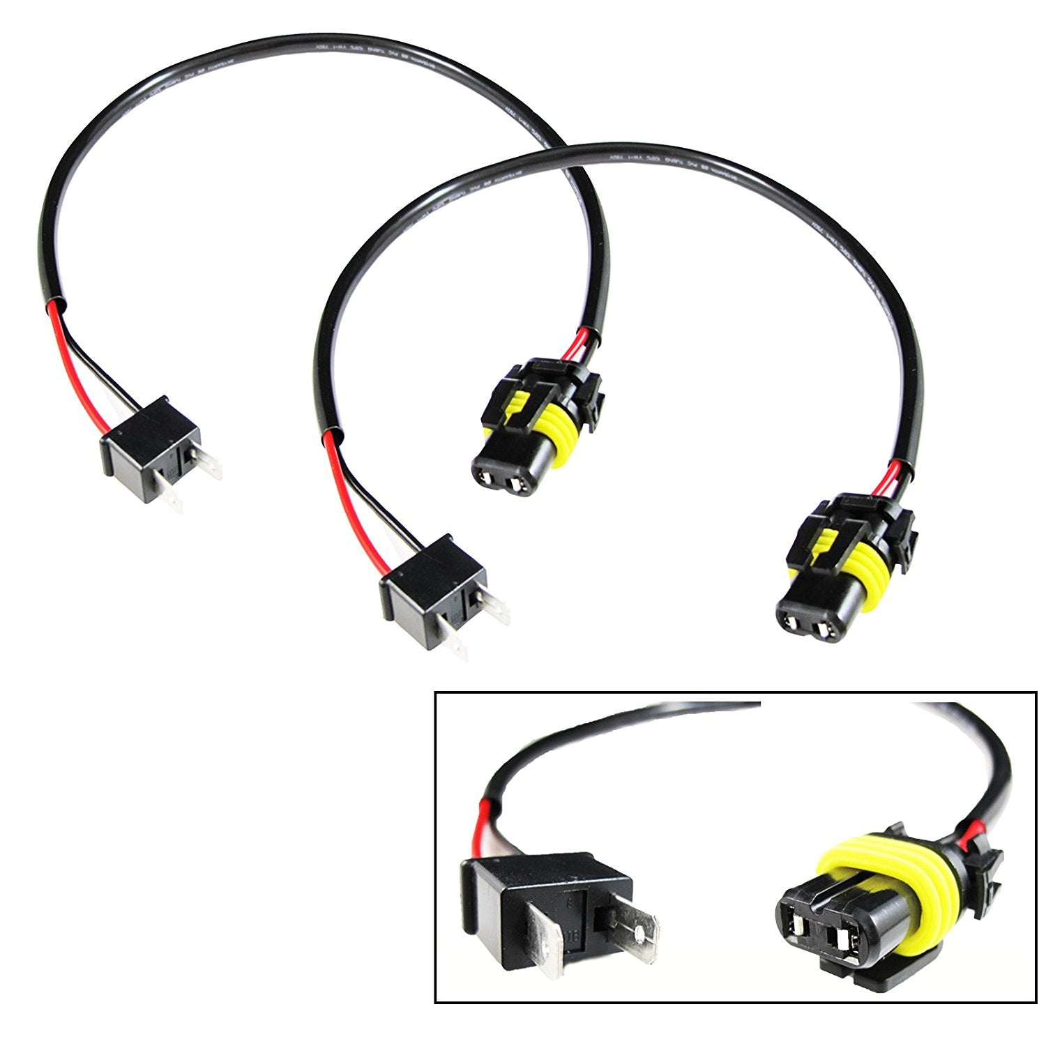 2x H7 Pigtail Wire Wiring Harness Cable Adapter for HID