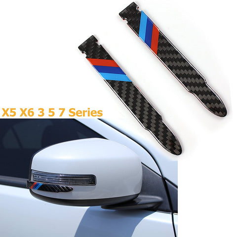 1 Set Carbon Fiber Rear view Mirror Protector Anti-scratch Trim Sticker Perftec Fit BMW