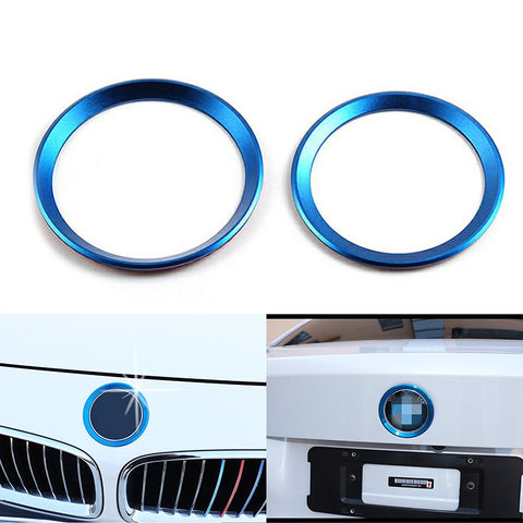 1 Set Car Front and Rear Logo Ring Decoration For BMW 3 4 Series M3 M4 E36 E46 E90 Blue or Red or Silver